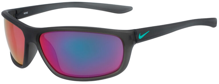 Nike Dash in Matte Anthracite Grey Frame with Teal Mirror Lens, Angled to the Left Side