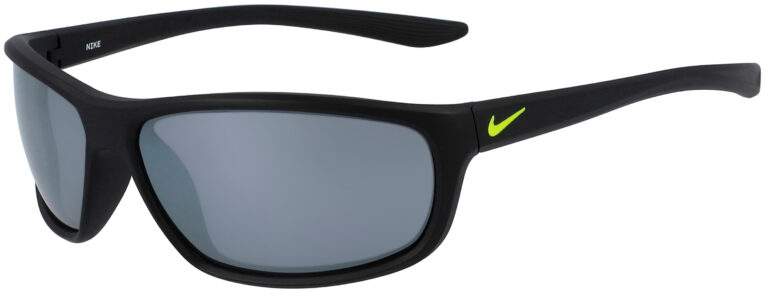 Nike Dash in Matte Black Frame with Grey Silver Flash Lens, Angled to the Left Side