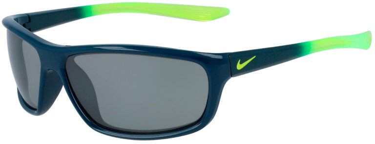 Nike Dash in Midnight Turquoise to Volt Fade Frame with Silver Flash Lens, Angled to the Left Side