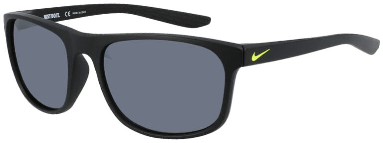 Nike Endure Sunglasses in Matte Black Yellow Frame with Gray Lens, Angled Side Left, NI-CW4652-011