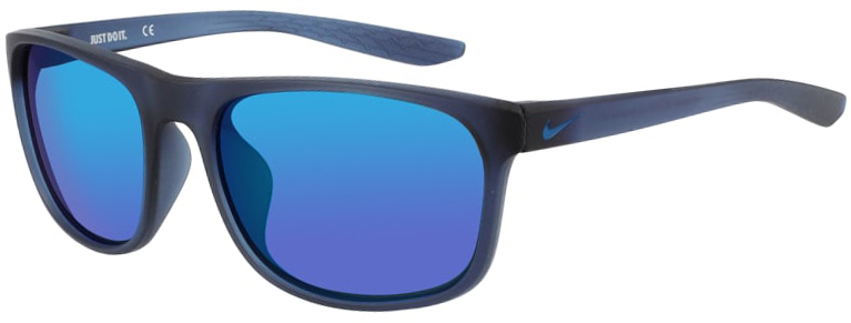Nike Endure Sunglasses in Matte Midnight Navy Frame with Blue Lens, Angled Side Left, NI-CW4650-410