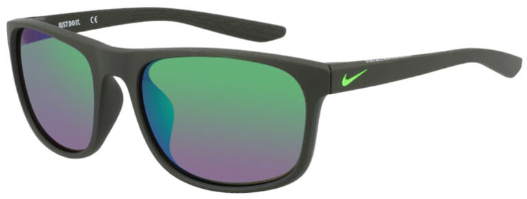 Nike Endure Sunglasses in Matte Sequoia Frame with Green Lens, Angled Side Left, NI-CW4650-355