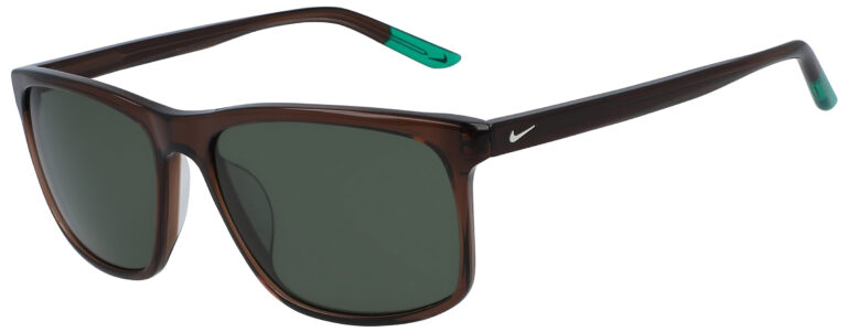 Nike Lore Baroque Brown Frame with Green Lens, Angled to the Side Left