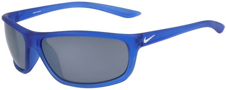 Nike Rabid Sunglasses in Matte Game Royal and White Frame with Silver Flash Lens, NI-EV1109-330