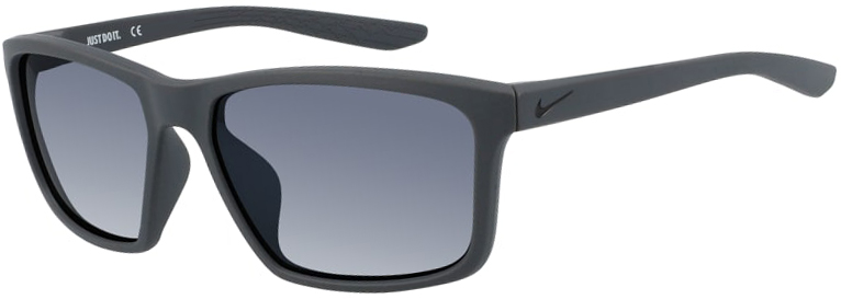 Nike Valiant sunglasses in Matte Black Frame with Gradient Gray Lens, Angled to the Left Side, NI-CW4642-016