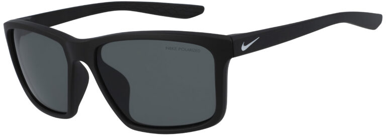 Nike Valiant Sunglasses in Matte Black Silver Frame with Polarized Grey Lens, Angled to the Side Left