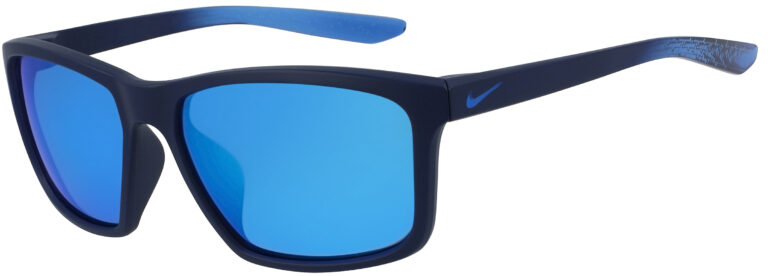 Nike Valiant Sunglasses in Matte Midnight Navy Fade Frame with Frozen Blue Mirror Lens, Angled to the Side Left