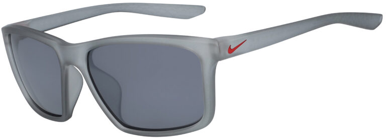 Nike Valiant Sunglasses in Matte Wolf Grey/University Red Frame with Silver Flash Lens, Angled to the Side Left