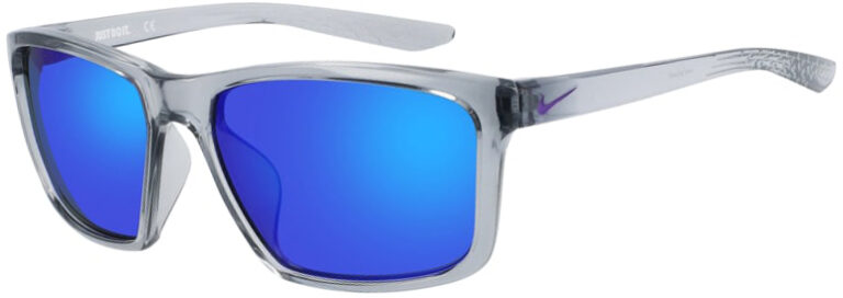 Nike Valiant sunglasses in Wolf Gray Frame with Blue Lens, Angled to the Left Side, NI-CW4642-012