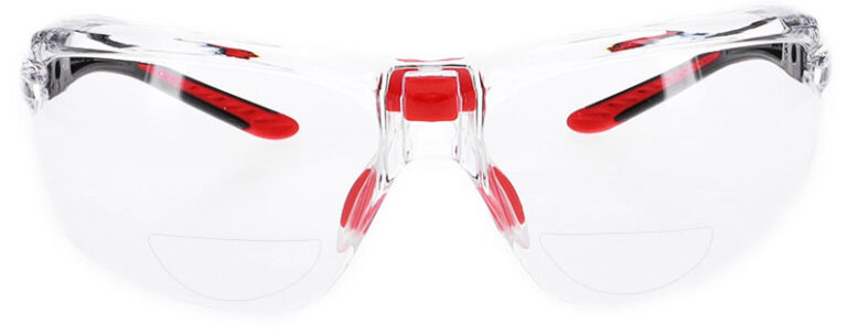 Bolle IRI-S Bifocal Safety Glasses in Black Frame with Clear Lens, Angled to the Front, BO-IRI-S