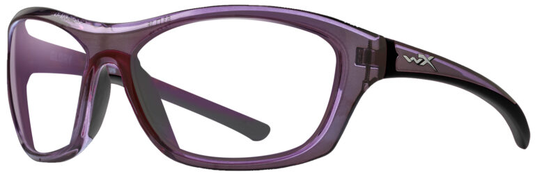 Wiley X Glory in Dark Crystal Purple Frame, Angled to the Side Left