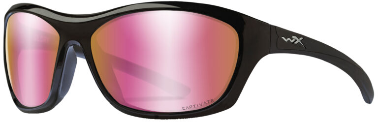 Wiley X Glory in Gloss Black Frame with Captivate Polarized Rose Gold Lenses, WX-ACGLR10