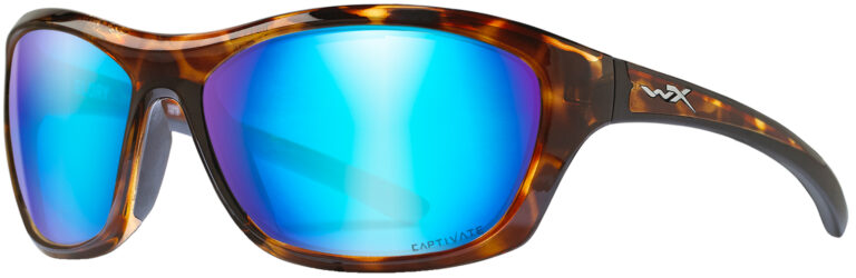 Wiley X Glory in Gloss Demi Frame with Captivated Polarized Blue Mirror Lens, WX-ACGLR09