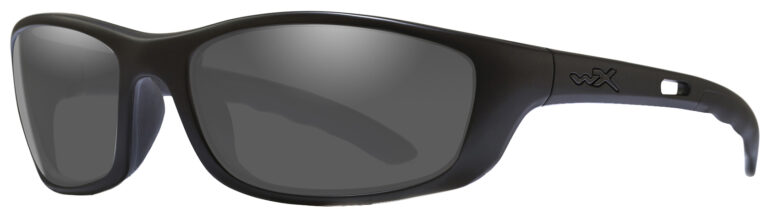 Wiley X-P-17 in Matte Black Frame with Smoke Grey Lenses, Angled to the Side Left