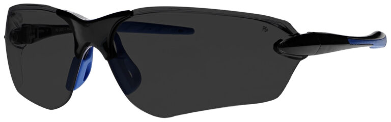 Dirtyhog Safety Glasses in Black/Blue Frame with Smoke Grey Lens, Angled to the Side Left