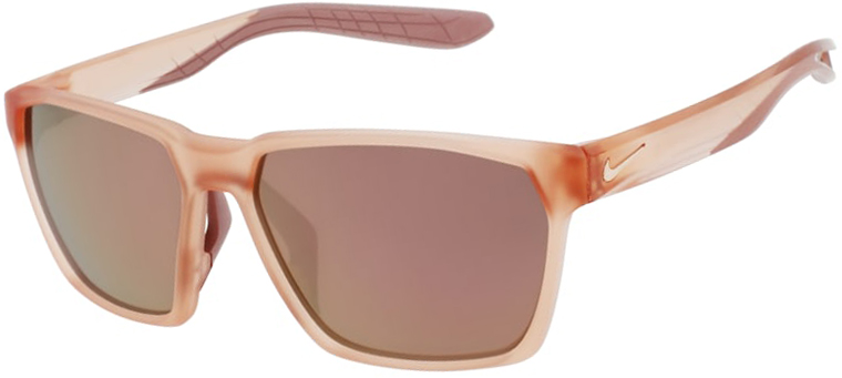 Nike Maverick in Matte Washed Coral Frame with Brown Rose Mirror Lens, Angled to the Side Left