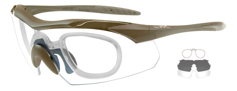 Wiley X Vapor in Tan Frame with Smoke Gray and Clear Lenses with RX Insert, WX-3511RX