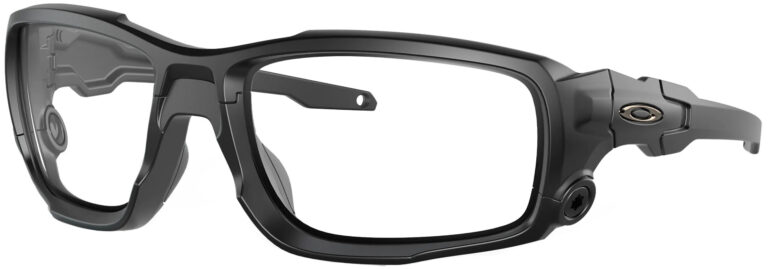 Standard Issue Ballistic Shocktube™ in Matte Black with Clear Lenses, Angled to the Side Left