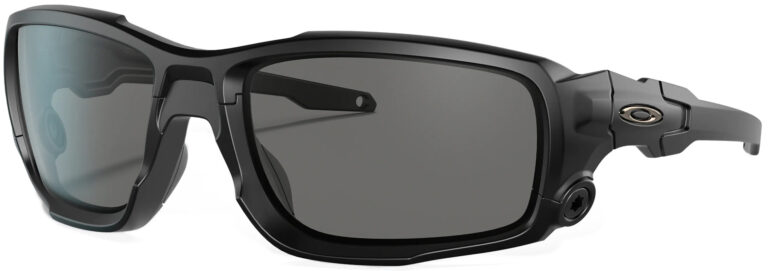 Standard Issue Ballistic Shocktube™ in Matte Black with Grey Lenses, Angled to the Side Left
