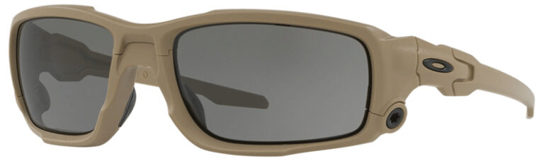 Standard Issue Ballistic Shocktube™ in Terrain Tan with Grey Lenses, Angled to the Side Left