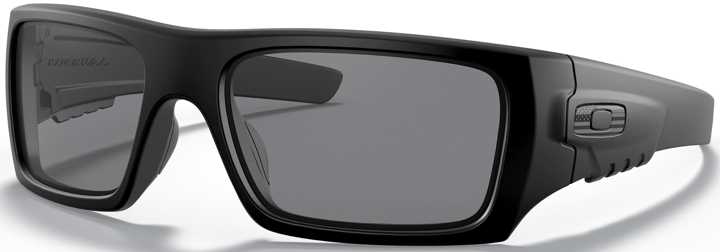 Standard Issue Det-Cord with USA Flag Emblem in Grey and Grey Lenses, Angled to the Side Left