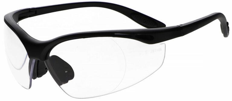 Model SR 9100 Safety Reading Glasses in Black Frame, Angled to the Side Left