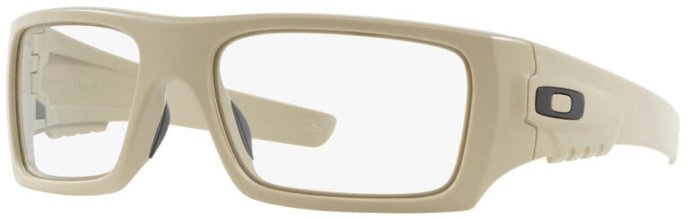 Oakley Standard Issue Ballistic Det Cord™ in Desert Tan with Clear Lenses, Angled to the Side Left