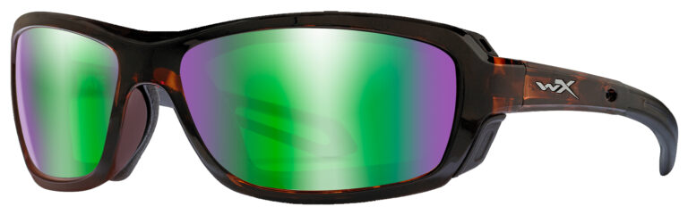 Wiley X Wave in Gloss Demi Frame with Polarized Emerald Mirror Lenses, Angled to the Side Left