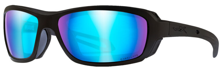 Wiley X Wave in Matte Black Frame with Captivate Polarized Blue Mirror Lenses, Angled to the Side Left