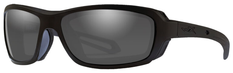 Wiley X Wave in Matte Black Frame with Smoke Grey Lenses, Angled to the Side Left