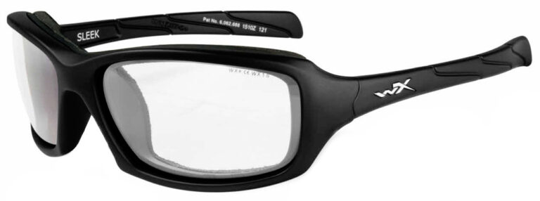 Wiley X Sleek in Matte Black Frame Angled to the Side Left