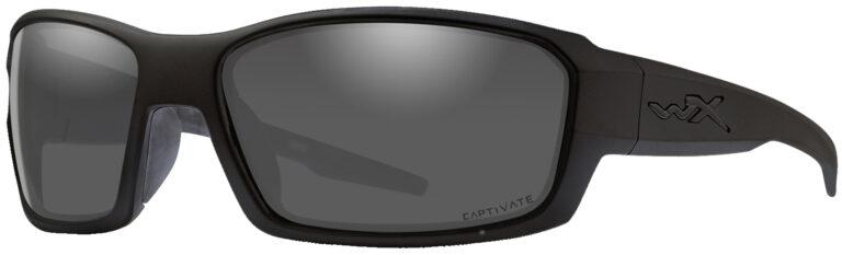 Wiley X Rebel in Alt Matte Black Frame with Captivate Smoke Grey Lens, Angled Side Left