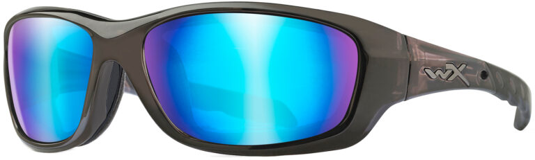 Wiley X Gravity in a Black Crystal Frame with Polarized Blue Mirror Lenses, Angled to the Side Left. CCGRA04