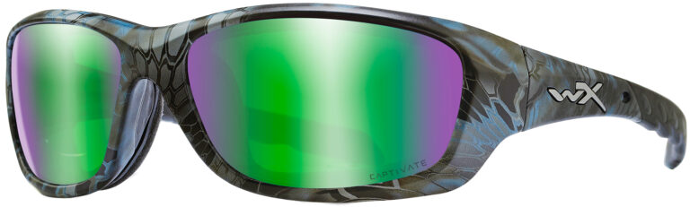 Wiley X Gravity in a Kryptek® Neptune™ Captivate™ Polarized Green Mirror, Angled to the Side Left. CCGRA12