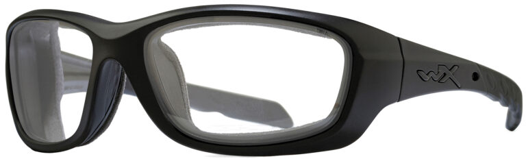 Wiley X Gravity in Matte Black Frame with Clear Lens, Angled to the Side Left. CCGRA03