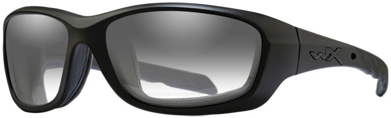 Wiley X Gravity in Matte Black Frame with Photochromic Smoke Grey Lens, Angled to the Side Left. CCGRA05