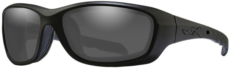 Wiley X Gravity in Matte Black Frame with Smoke Grey Lens, Angled to the Side Left. CCGRA01