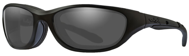 Wiley X AirRage Matte Black Smoke Grey Lens Angled to the Side Left