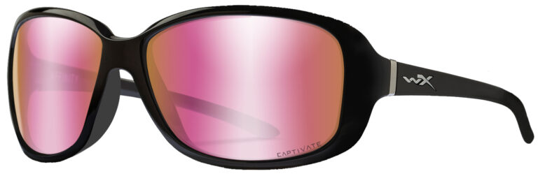 Wiley X Affinity in Gloss Black Frame with Captivate Polarized Rose Gold Mirror Lenses, Angled to the Side Left