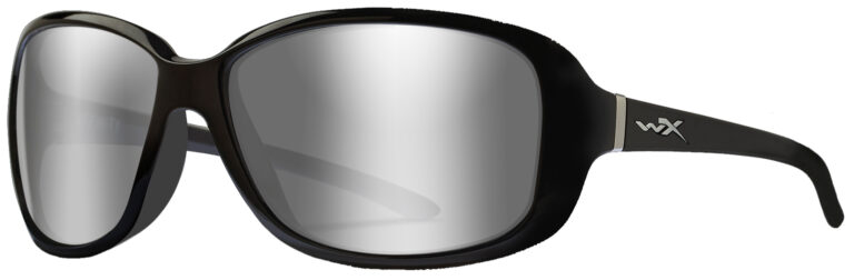 Wiley X Affinity in Gloss Black Frame with Grey Silver Flash Lens, Angled to the Side Left