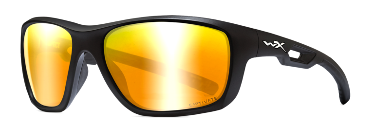 Wiley X Aspect in Matte Black with Captivate Polarized Bronze Mirror Lens, Angled Side Left
