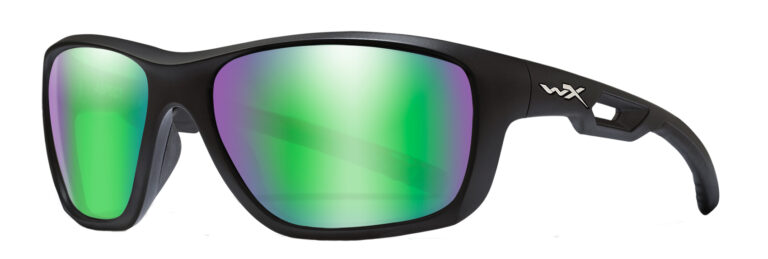 Wiley X Aspect in Matte Black with Polarized Emerald Mirror (Amber) Lens Angled to the Side Left
