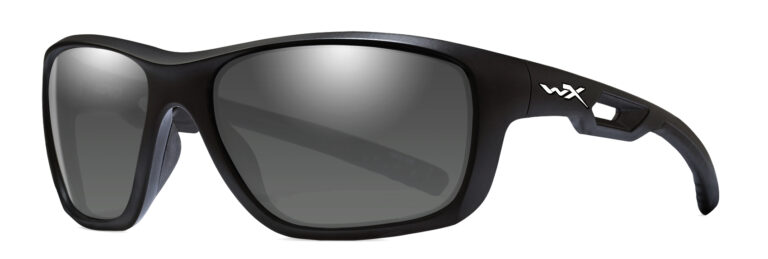 Wiley X Aspect in Matte Black with Smoke Grey Lens Angled to the Side Left
