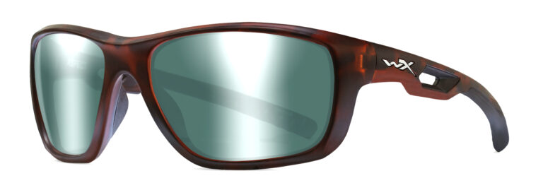 Wiley X Aspect in Matte Demi with Polarized Green Platinum Flash Lens, Angled to the Side Left