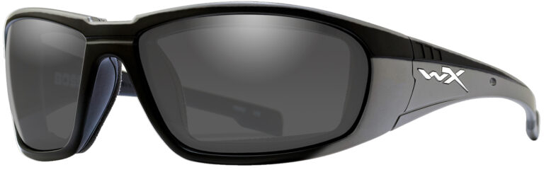 Wiley X Boss in Gloss Black Frame with Silver Flash Lenses, Angled to the Side Left