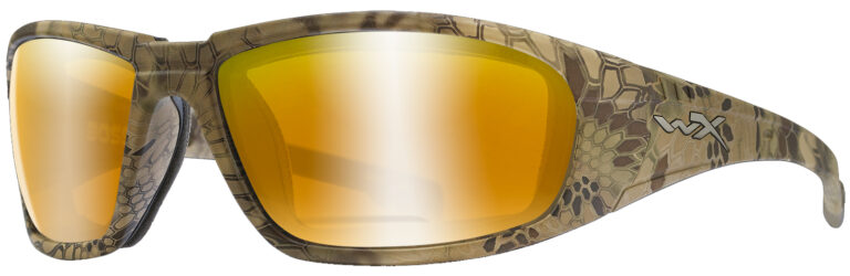 Wiley X Boss in Kryptek® Highlander™ with Polarized Venice Gold Mirror Lenses, Angled to the Side Left