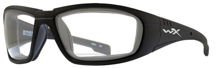 Wiley X Boss in Matte Black Frame, Angled to the Side Left
