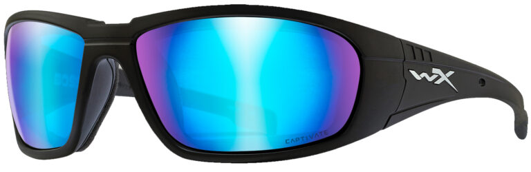 Wiley X Boss in Matte Black Frame with Captivate Polarized Blue Mirror Lenses, Angled to the Side Left