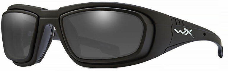 Wiley X Boss with RX Rim in Matte Black Frame with Smoke Grey Lenses, Angled to the Side Left