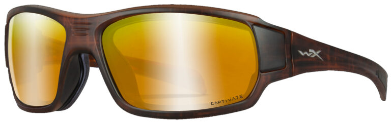 Wiley X Breach in Matte Hickory Brown Frame with Captivate Polarized Bronze Mirror Lens, Angled to the Side Left